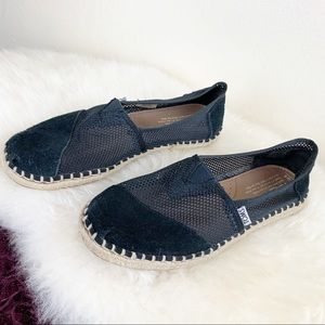 Black Toms slip on espadrille with suede/mesh